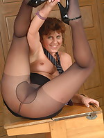 Naughty housewife showing her panties and then some - Girdles Granny